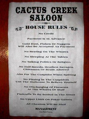 """(503) OLD WEST SALOON CACTUS CREEK HOUSE RULES POSTER 11""""x17"""""""