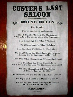 """(499) OLD WEST SALOON CUSTER'S LAST HOUSE RULES POSTER 11""""x17"""""""