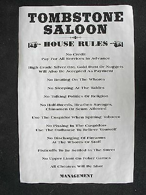 """(465L) OLD WEST SALOON TOMBSTONE HOUSE RULES POSTER 11""""x17"""""""