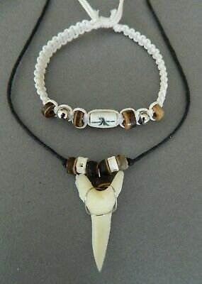 LARGE SHARK TOOTH NECKLACE wood bone silver colour surfer approx 2cm long