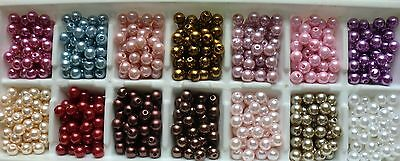 200pcs x 8mm Faux Pearl Beads In 20 Colours for Craft Jewellery Making
