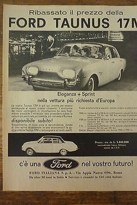 Advertising Pubblicita'   Ford  Taunus 17M Eleganza + Sprint   1961