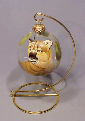 Hand Painted Signed Glass Bulb Cougar Puma Ornament on Wire Stand - Beautiful!