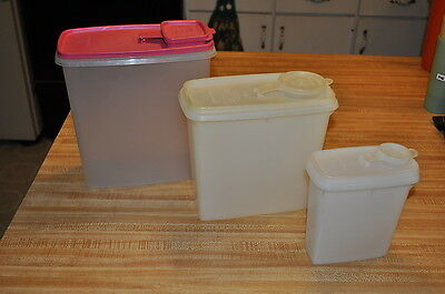 VINTAGE TUPPERWARE 3 PIECE CEREAL KEEPER STORAGE CONTAINERS MEDIUM