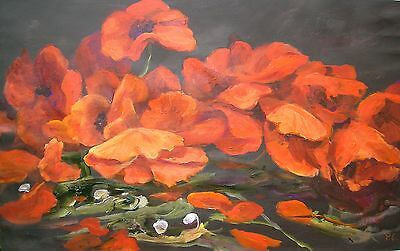 Original Penny Clandon S.w.a  Flower Red Poppies Painting