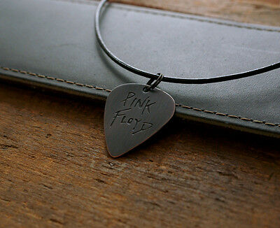 Hand Made Etched Copper Guitar Pick Necklace with Pink Floyd