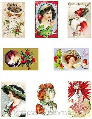 Victorian Ladies Christmas Cotton Mini Art Quilt Blocks FrEE ShiPPinG WoRld WiDE