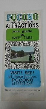Vintage Tourists' Guide Map Pamphlet The Pocono Mountains Attractions 1966