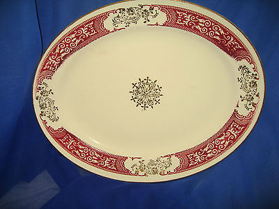 Homer Laughin Vintage Mcroon & Gold Oval Platter