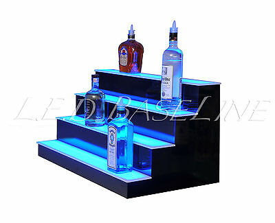 "32"" LED LIGHTED BAR SHELVES, 4 Step, LED Liquor Bottle displ, Display Shelving"