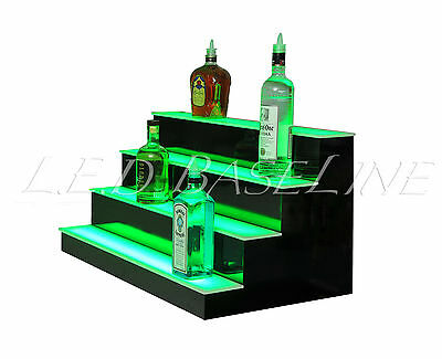 "36"" LED LIGHTED BAR SHELVES, 4 Step, LED Liquor Bottle displ, Display Shelving"