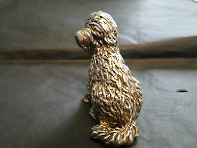 Miniature  Sitting Dog 800 Silver Marked Made Circa 1960- Italy