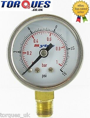 "FSE Analog Fuel Pressure Gauge 1/8"" NPT  0-15 PSI For Filter King Regulator etc"