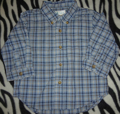 Baby Boys Size 12 Months Childrens Place White Blue Tan Plaid Button Up Top Shir
