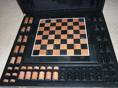 """Marble Chess Set with Hinged Box 15"""" inch"""