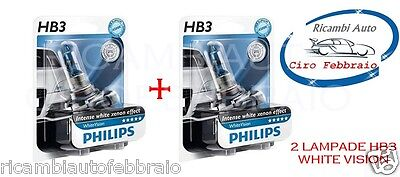 Lamp Kit 2 Lampade Lampadine Philips Hb3 White Vision Intense White Xenon Effect