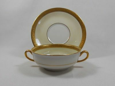 Limoges London  Ontario Cream White and Gold Cream Soup Cup and Saucer