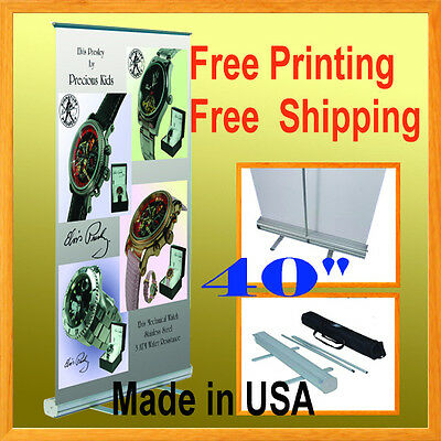 "40"" Wide Retractable Roll Up Banner Stand Trade Show Pop + FREE GRAPHIC PRINTING"
