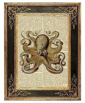 Tan Octopus #5 Art Print on Antique Book Page Vintage Illustration Tentacles