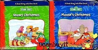 Elmo & Friends SNOWY CHRISTMAS & MOUSE'S CHRISTMAS Hands-On Mini Book Set Age 2+