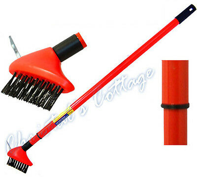 2in1 PAVING BRUSH PATIO WEED REMOVE SCRAPPER TOOL GARDEN EXTRA LONG HANDLE 140CM