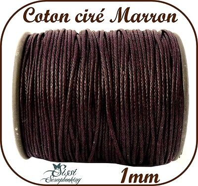 LOT 5 METRE DE FIL DE COTON CIRÉ MARRON BIJOUX PERLE CORDON SCRAP CARTE 1mm