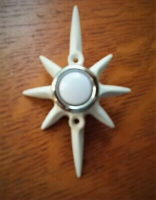 New Mid Century White Star Lighted Doorbell Button