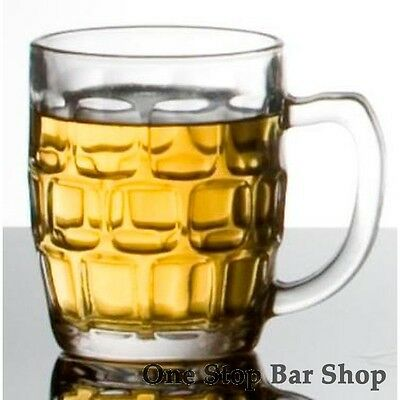 6x - Dimple Handled Beer Glass 285ml - Certified Capacity - Hospitality