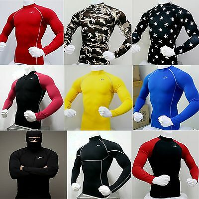 Mens Compression Tops Sports Under Base Layers Fitness Cycling Tight Skin Shirts