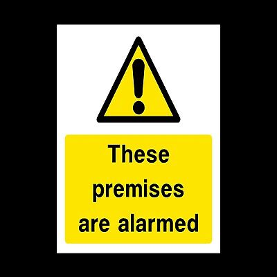 WARNING THESE PREMISES ARE ALARMED DANGER PLASTIC RIGID SIGN 150 x 210mm *CHEAP*