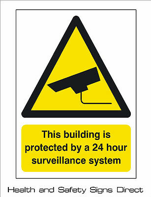 CCTV 'THIS BUILDING IS PROTECTED 24 HOUR' PLASTIC RIGID SIGN 150 x 210mm *CHEAP*