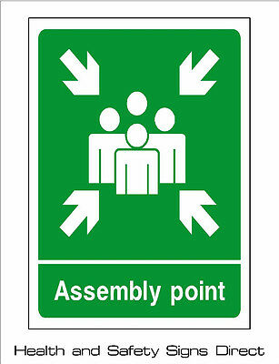 ASSEMBLY POINT / MUSTER POINT PLASTIC RIGID SIGN - 210 x 297mm - A4 *CHEAP*