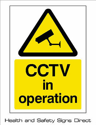 CCTV IN OPERATION PLASTIC RIGID DRILLED SIGN 150x210mm A5 *CHEAP*