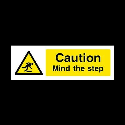 CAUTION MIND THE STEP SAFETY SIGN RIGID PLASTIC 300x100mm *CHEAP*