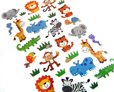 Wild Jungle, Safari Animal Stickers childrens card making labels for kids LS40