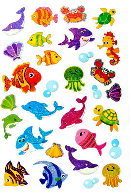 Sea Life Fish Dolphin Octopus Stickers childrens decoration labels for kids LS41