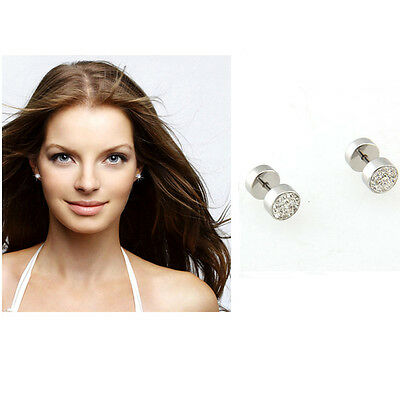 "Stainless Steel Crystal Men's Earrings Ear Studs 0.31"" HOT"