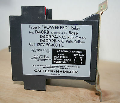 Cutler Hammer D40RBA Type R Reed Relay, 120V, 50/400 HZ, Series A1, w/out poles