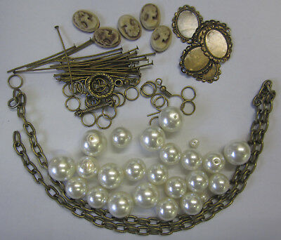 Cameo & Pearl Bracelet & Earrings Kit Cream - Instructions,Beads,Findings TAR120