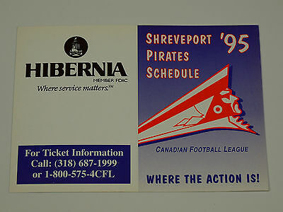 1995 CFL Shreveport PIRATES Schedule NOS Never Circulated US EXPANSION Team