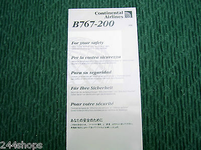 Continental Airlines - B 767-200 - Safety Card - Several Languages - new