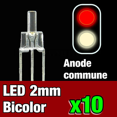 741/10# 10pcs LED bi-color anode commune 2mm blanc chaud - rouge - idéal digital