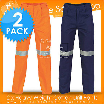 2 x SAFETY HEAVY WEIGHT DURABLE REFLECTIVE 3M TAPED COTTON DRILL PANTS TROUSERS