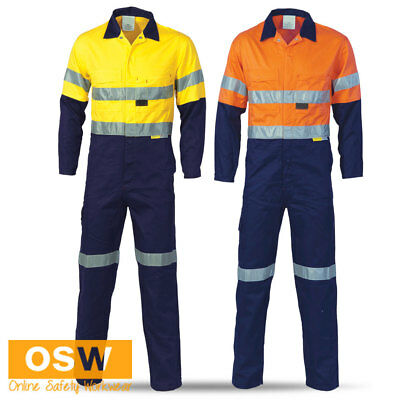 Hi Vis Safety Reflective Two Tone Day Night Coveralls Orange/navy, Yellow/navy