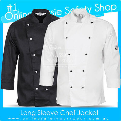 Unisex Chef Jacket Restaurant Hospitality Black/white Long Sleeve Uniform