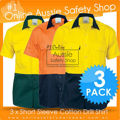 3 X Hi Vis Two Tone Day Safety Cotton Drill Workwear Short Sleeve Shirt