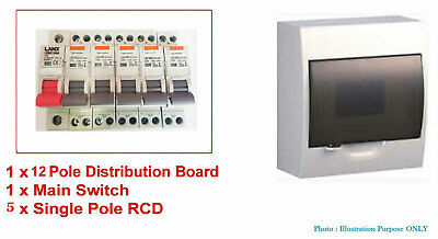 12 Way Pole Distribution Board Switchboard Safety Switches RCD And Main Switch
