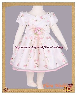 Satin Flower Girl Bridesmaid Gown/Pageant Party Christening Dress,Pink Ribbon