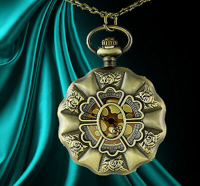 Unusual gift for her Pocket Watch Necklace Roses Goth steam punk Antique classic