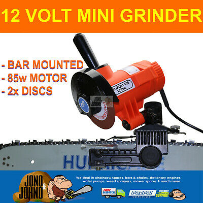 12 Volt Chainsaw Chain Bar Mounted Mini Grinder Sharpener Wheel 2x Discs file